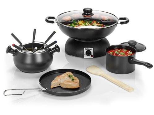 elektrisches fondue set und wok set 5 in 1 topf warmhalteplatte tristar bp 2986 ebay. Black Bedroom Furniture Sets. Home Design Ideas