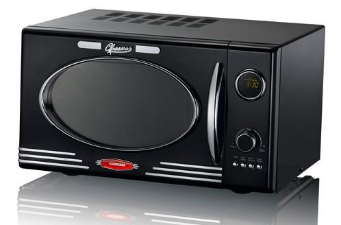 classico mikrowelle mit grill retro design 25 liter schwarz mikrowellenherd ebay. Black Bedroom Furniture Sets. Home Design Ideas