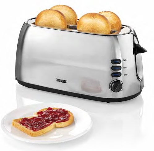 edelstahl langschlitz toaster princess 143002 f r 4 scheiben ebay. Black Bedroom Furniture Sets. Home Design Ideas